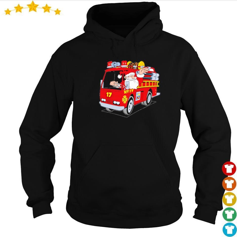 Santa firefighter merry Christmas sweater hoodie
