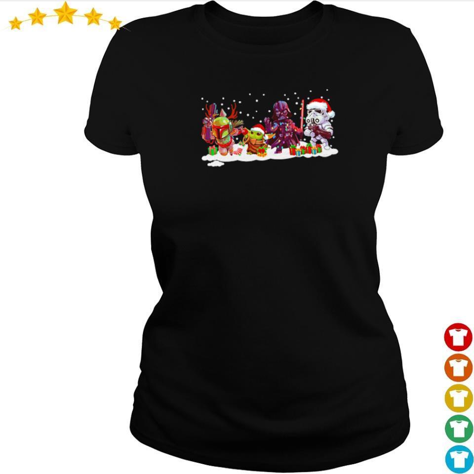 Star Wars The Mandalorian Baby Yoda and Darth Vader Christmas sweater ladies tee