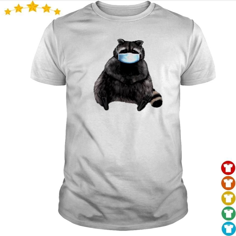 Sweet racoon wearing facemask shirt