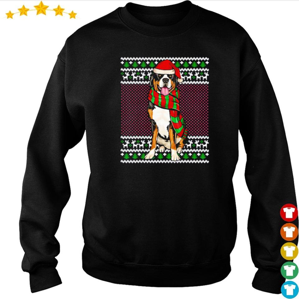 Swiss Mountain wearing Santa hat merry Christmas sweater