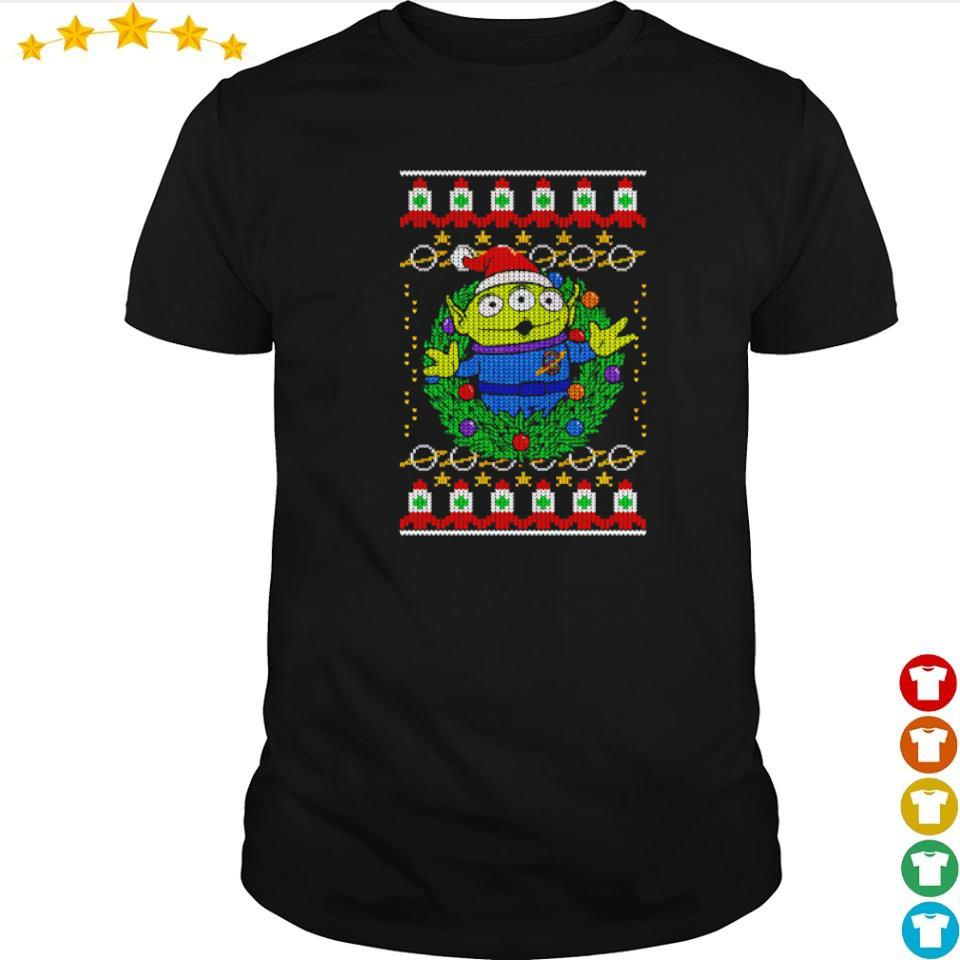Toy Story alien wreath merry Christmas sweater shirt