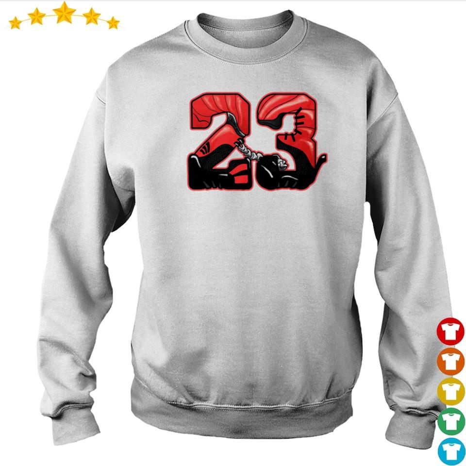 Michael Jordan number 23 Jordan 12 Reverse Flu Game shirt