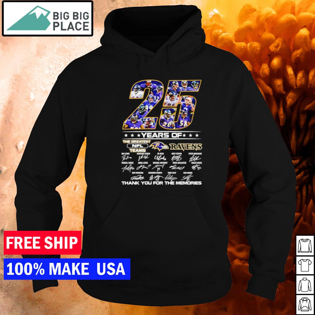 25 years of the greatest NFL teams Baltimore Ravens thank you for the memories s hoodie