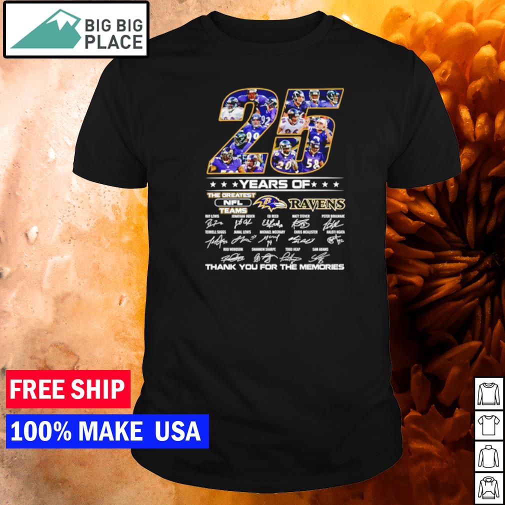 25 years of the greatest NFL teams Baltimore Ravens thank you for the memories shirt
