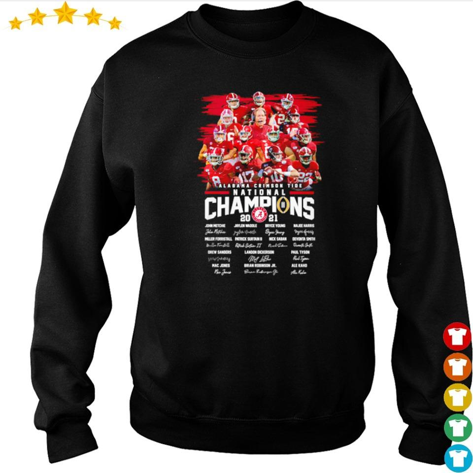 Alabama Crimson Tide National Champions 2021 team players signature s sweater