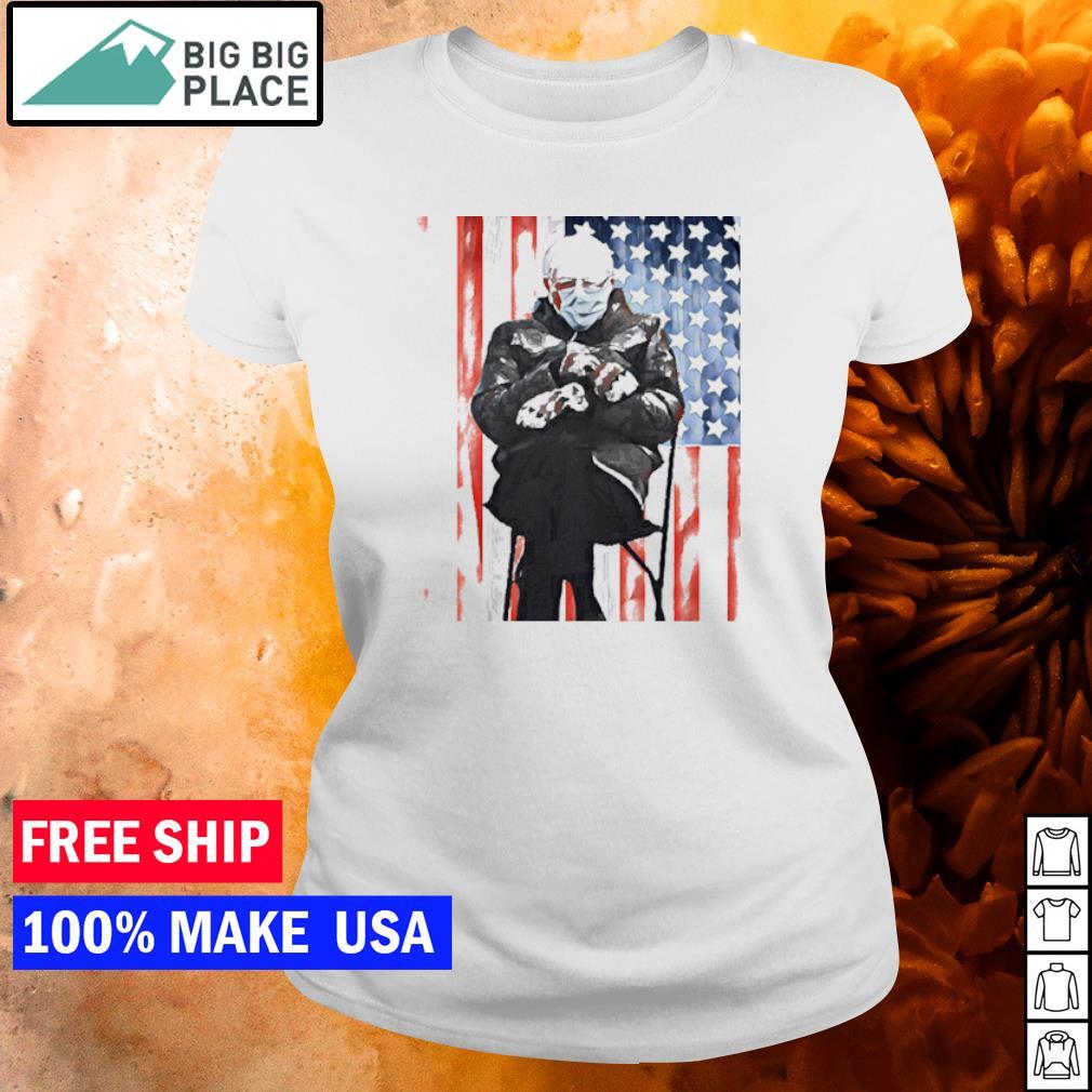 Bernie Sanders meme inauguration's day 2021 American Flag s ladies tee
