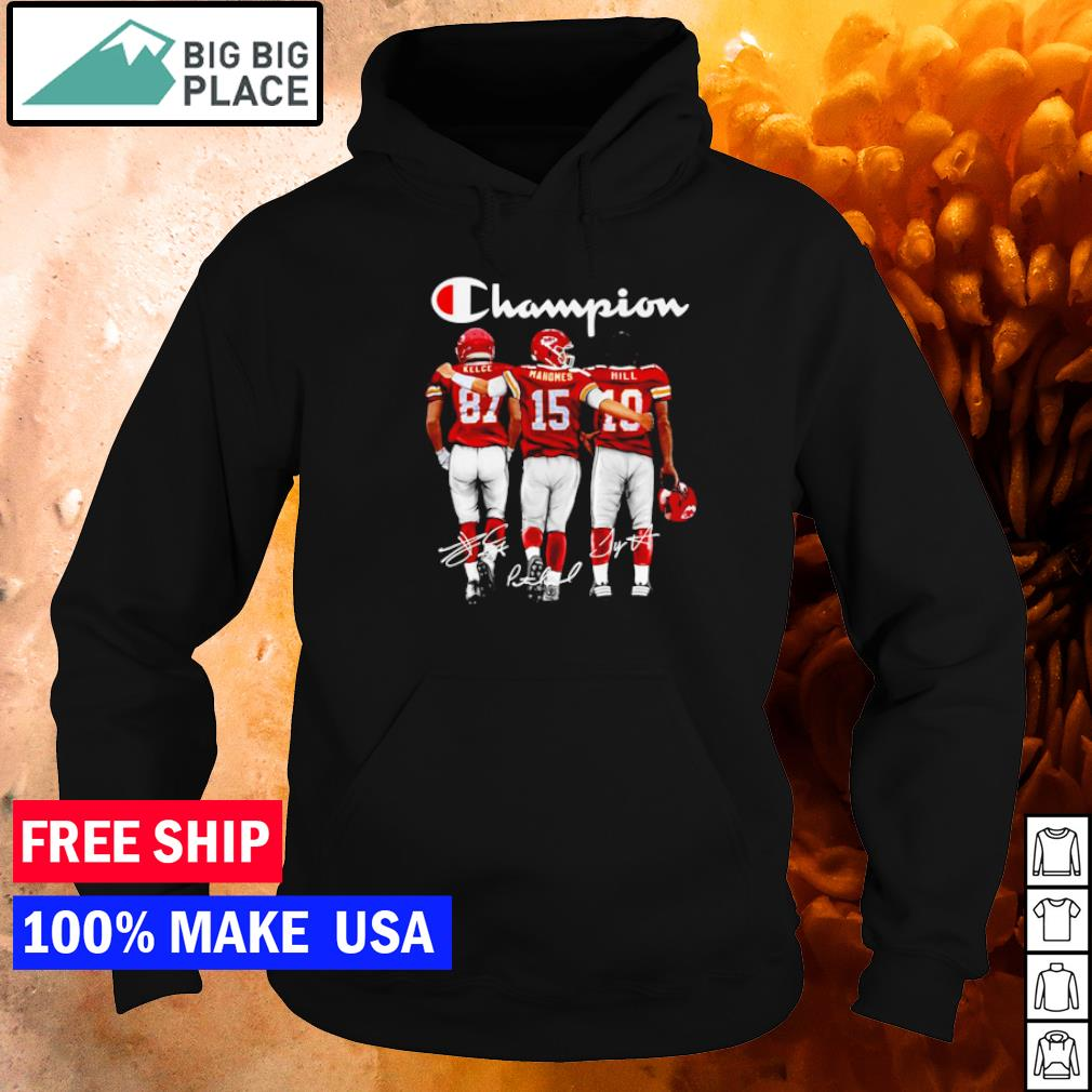 Champion Kansas City Chiefs Kelce Mahomes and Hill signature s hoodie