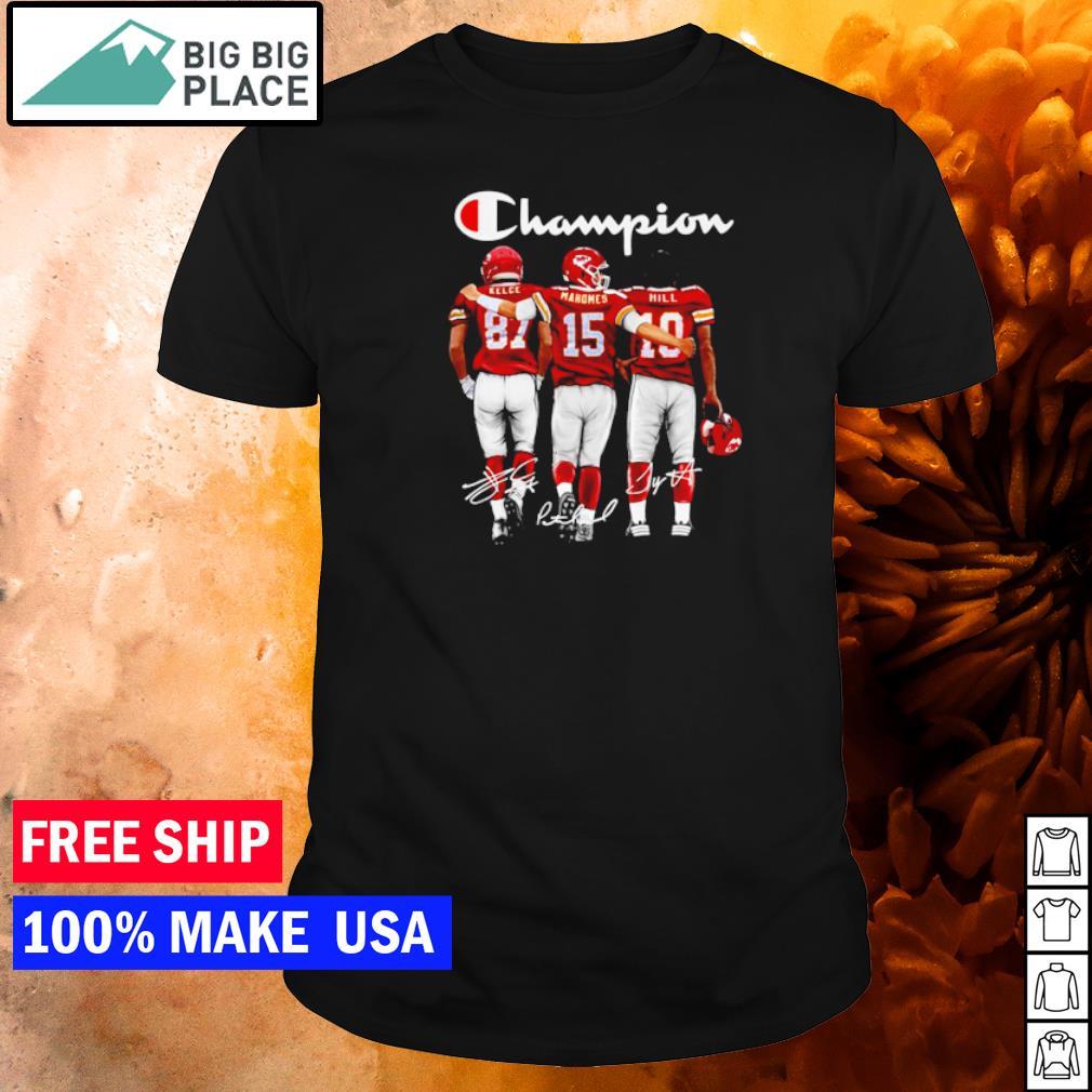 Champion Kansas City Chiefs Kelce Mahomes and Hill signature shirt