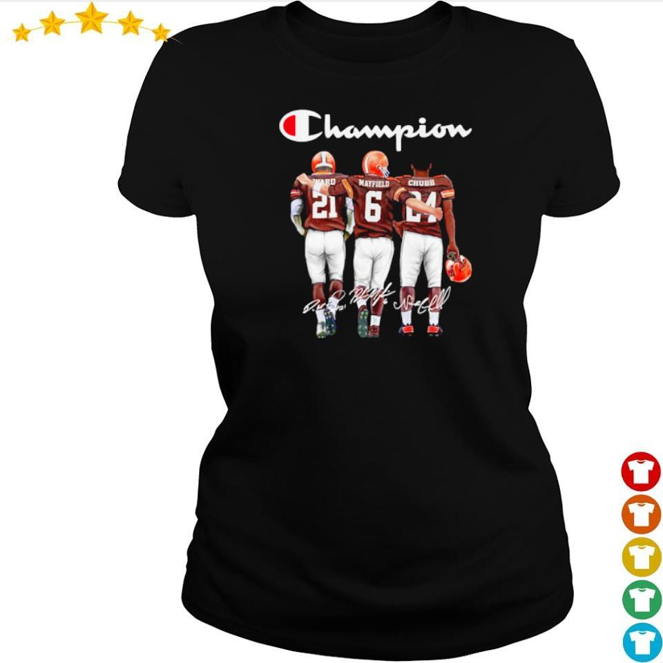 Cleveland Browns Ward Mayfield and Chubb signature Champion s ladies tee