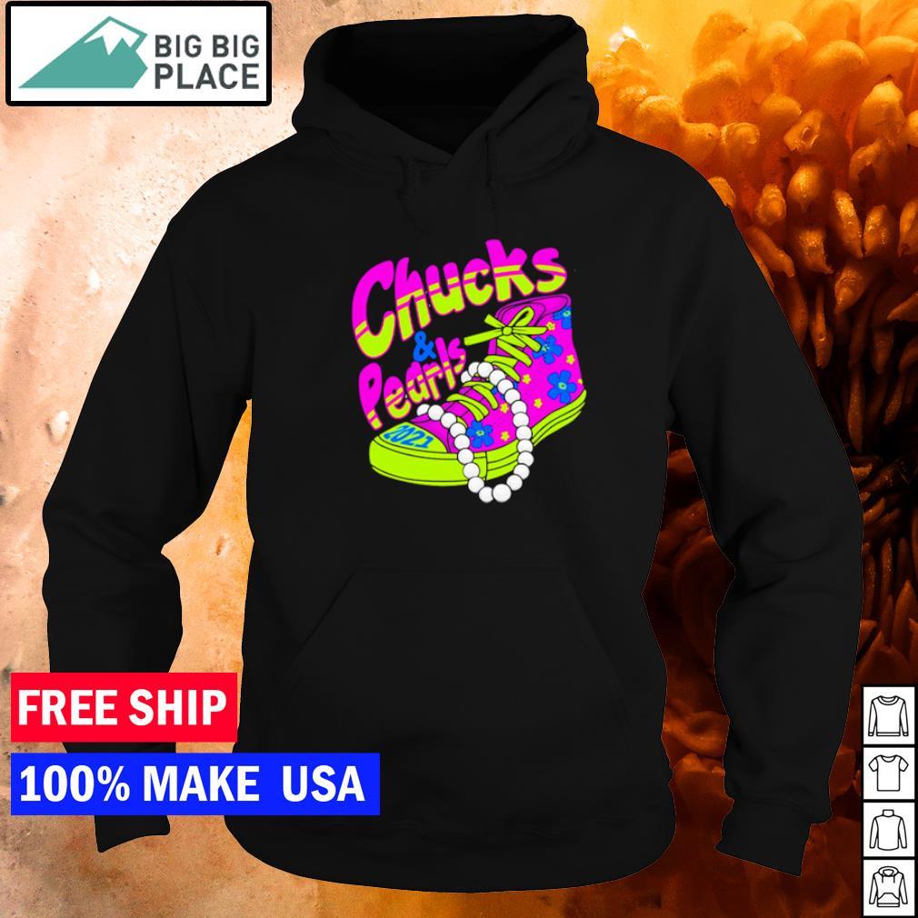 Colorful chucks and pearls 2021 Vice President Kamala Harris wearing s hoodie