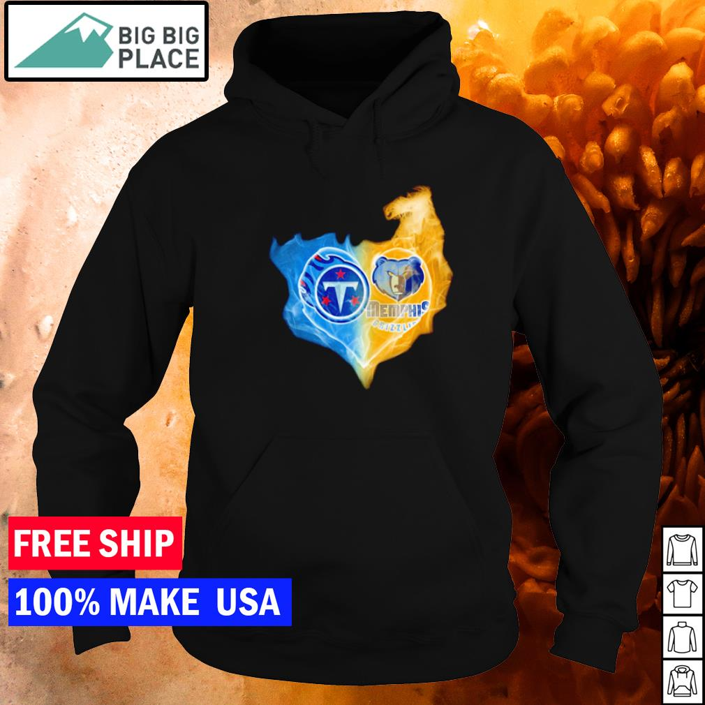 Heart Tennessee Titans and Memphis Grizzlies ice and fire s hoodie