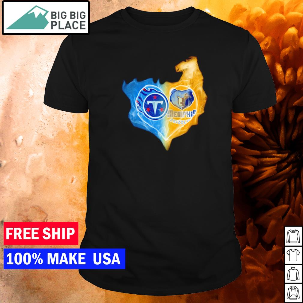 Heart Tennessee Titans and Memphis Grizzlies ice and fire shirt