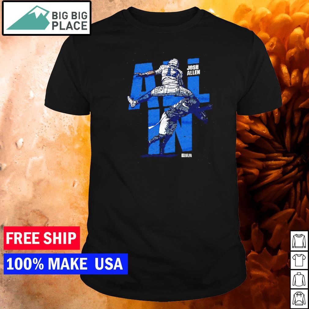 Josh Allen all in jump Buffalo Bills shirt