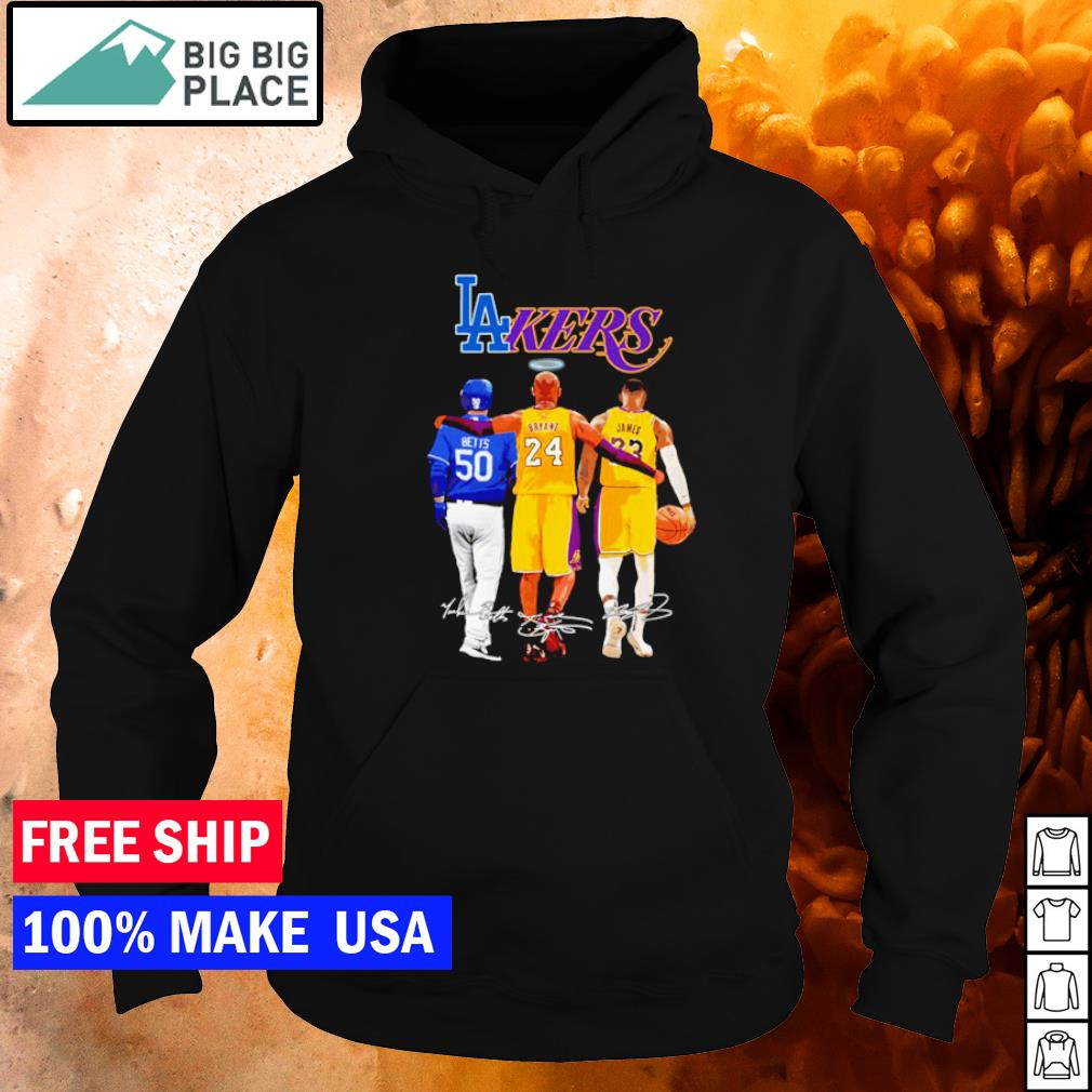 Los Angeles Dodgers and Lakers Betts Bryant and James signature s hoodie