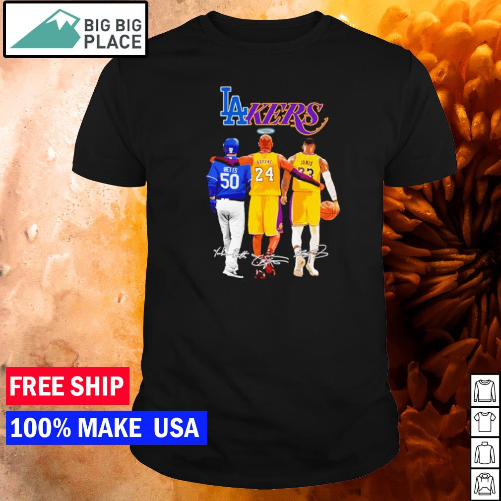 Los Angeles Dodgers and Lakers Betts Bryant and James signature shirt