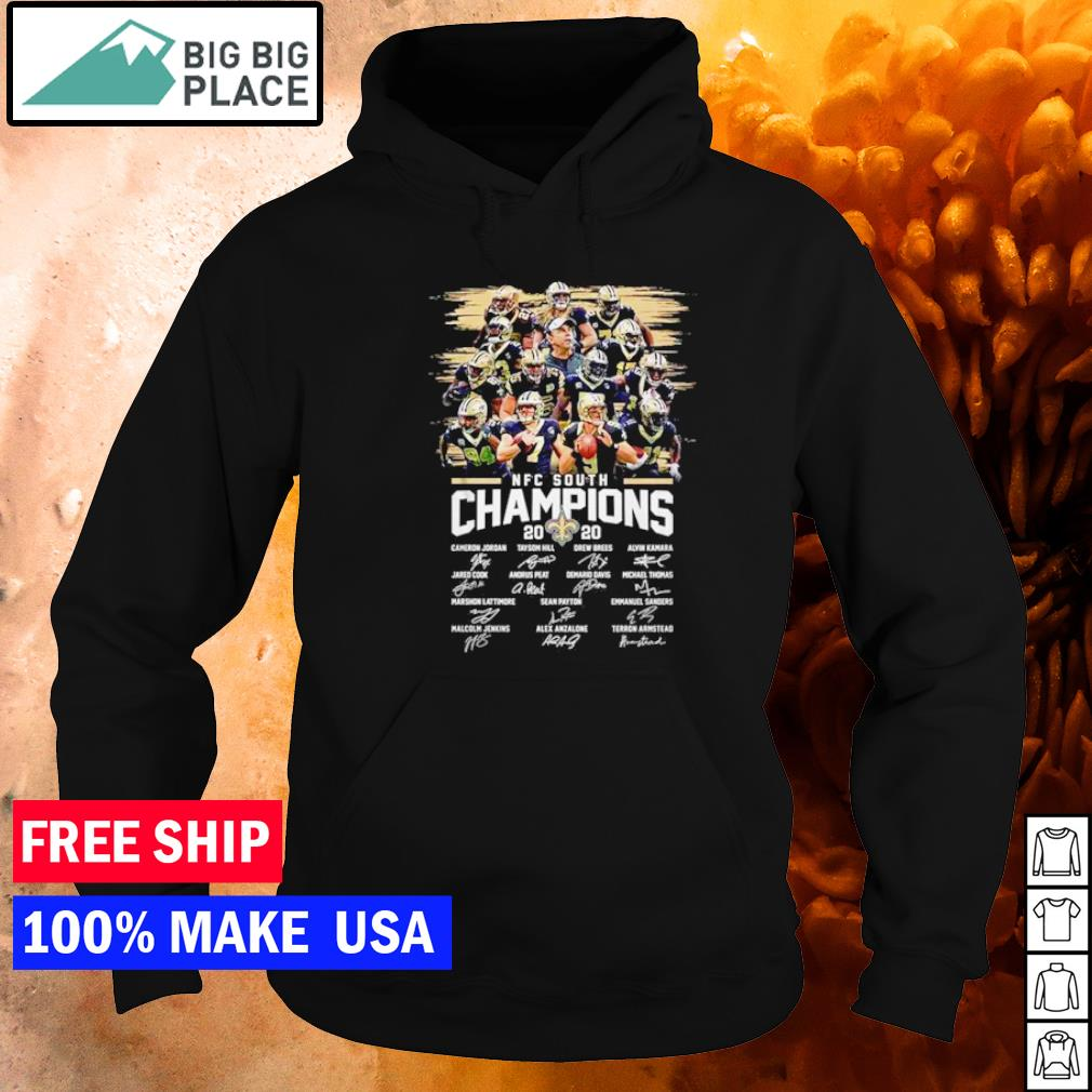 New Orleans Saints NFC South Champions 2020 player's signature s hoodie