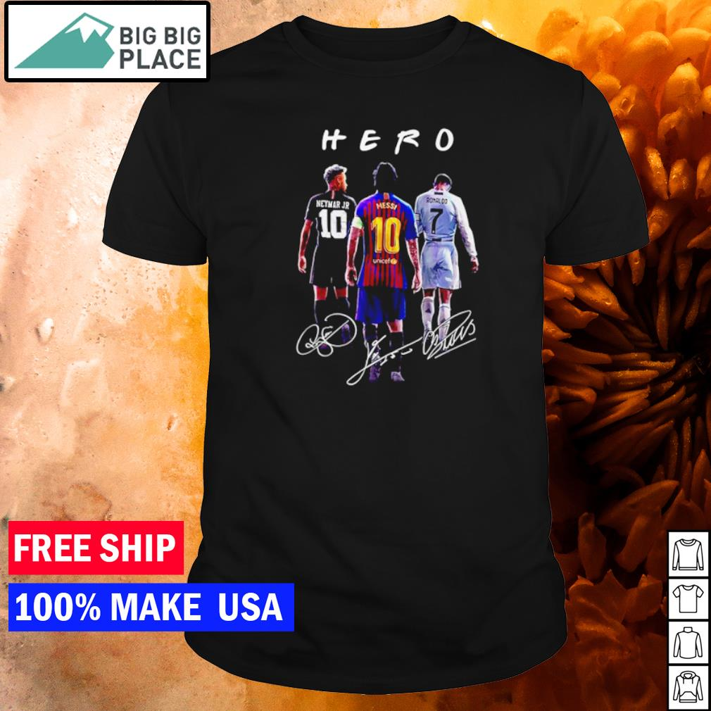 Neymar Jr Messi and Ronaldo Hero signature shirt