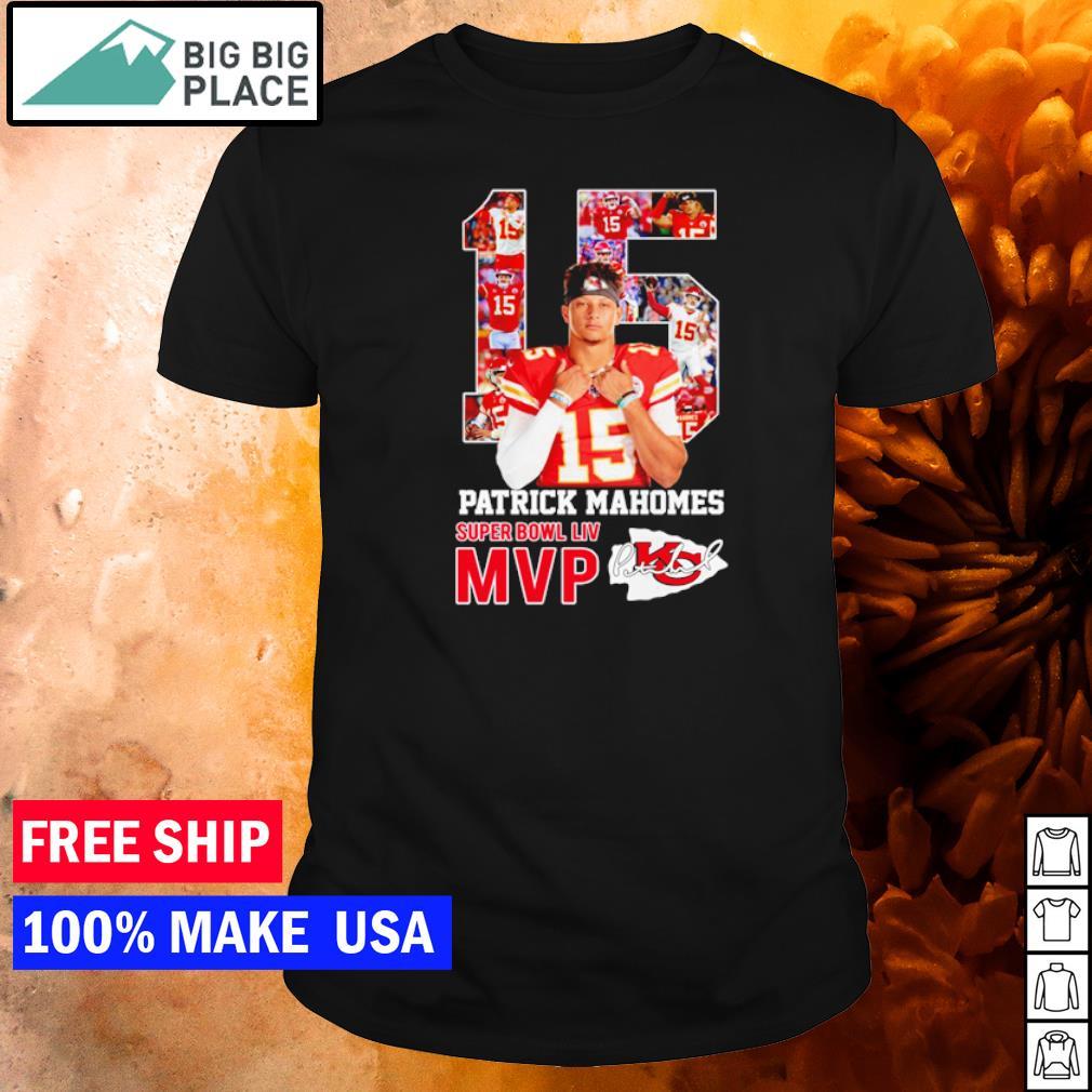 Patrick Mahomes Kansas City Chiefs number 15 Super Bowl LIV MVP signature shirt