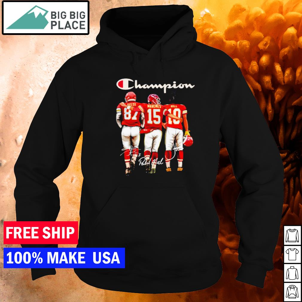 San Francisco 49ers Kelce Mahomes and Hill champion signature s hoodie