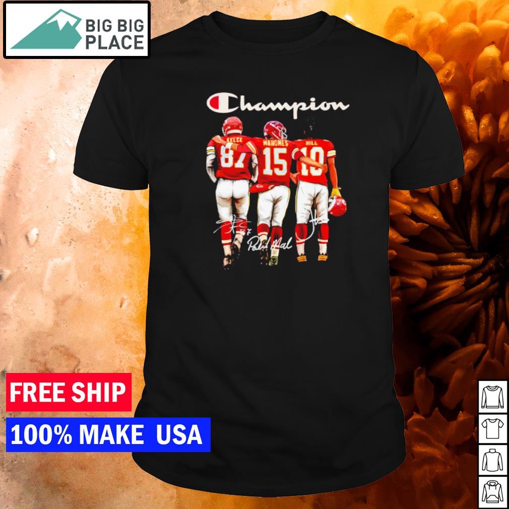 San Francisco 49ers Kelce Mahomes and Hill champion signature shirt