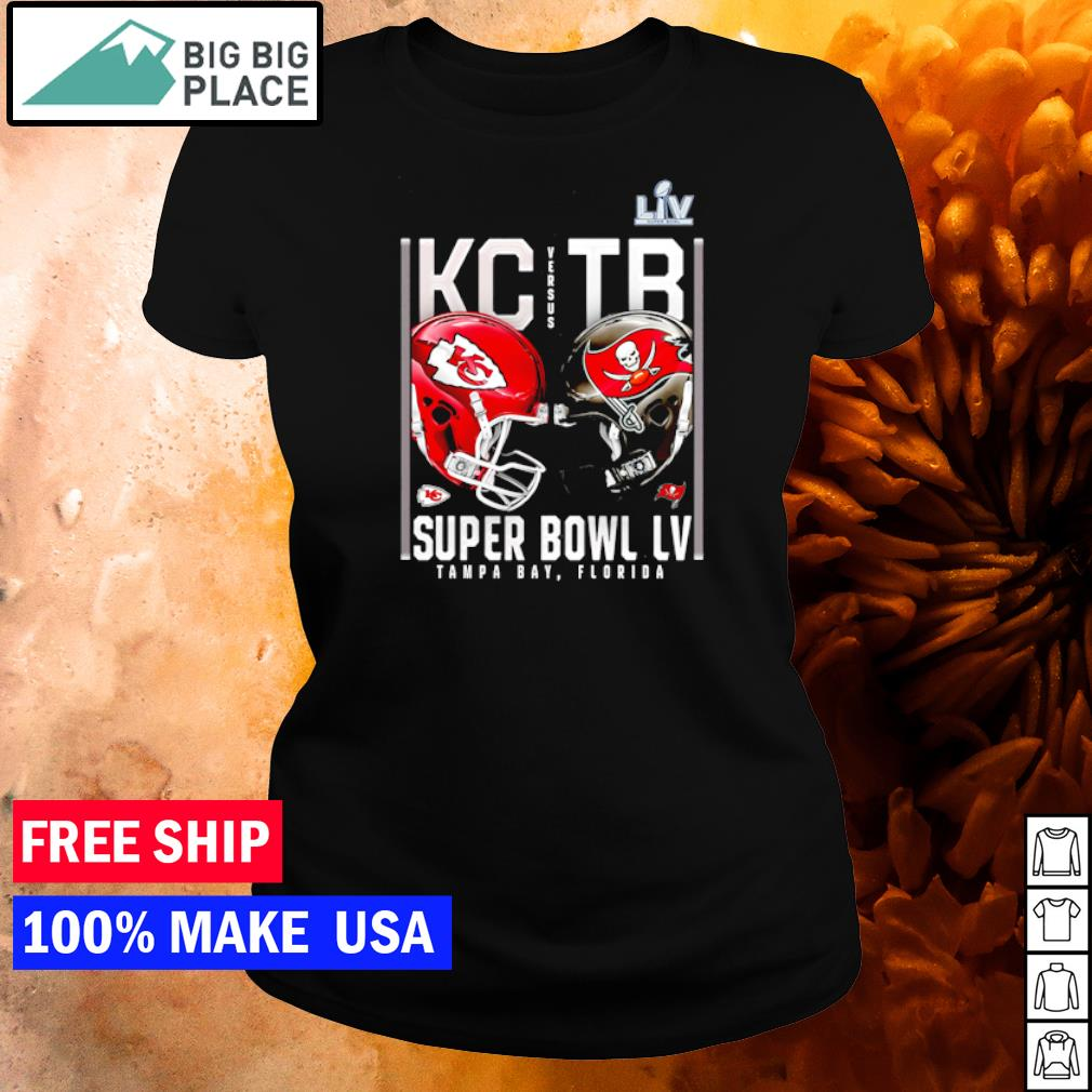 Super Bowl LV Matchup Kansas City Chiefs vs Tampa Bay Buccaneers s ladies tee