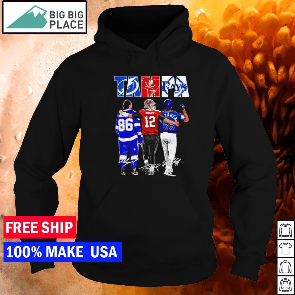 Tampa Bay Lightning Buccaneers and Rays Kucherov Brady and Arozarena signature s hoodie
