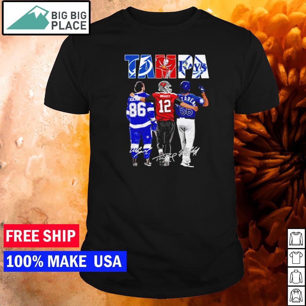 Tampa Bay Lightning Buccaneers and Rays Kucherov Brady and Arozarena signature shirt