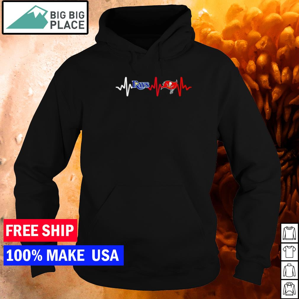 Tampa Bay Rays and Tampa Bay Buccaneers heartbeat s hoodie