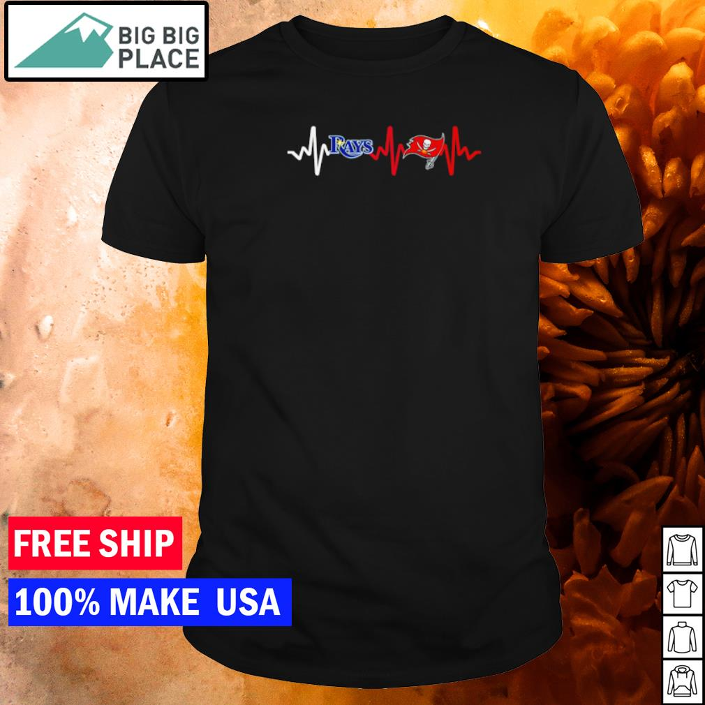 Tampa Bay Rays and Tampa Bay Buccaneers heartbeat shirt