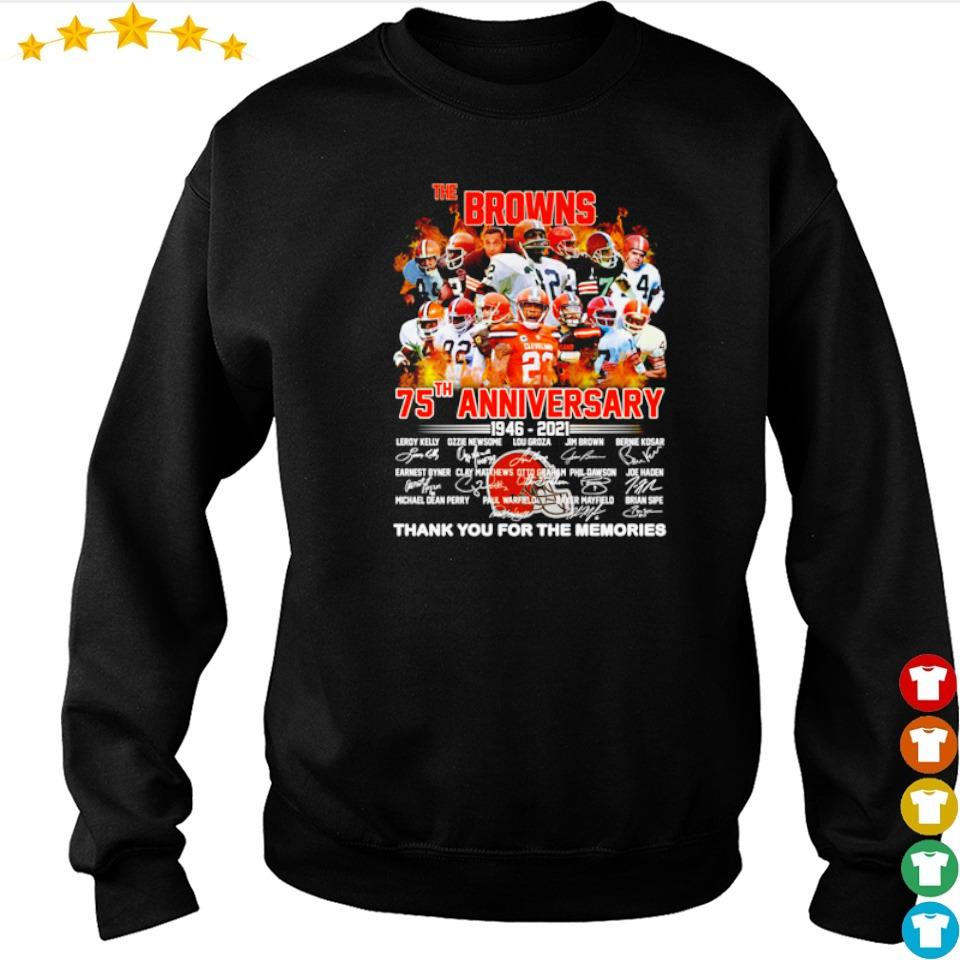 The Cleveland Browns 75th anniversary 1946 2021 thank you for the memories signature s sweater