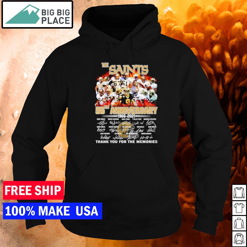 The New Orleans Sanits 55th anniversary 1966 2021 thank you for the memories signature s hoodie