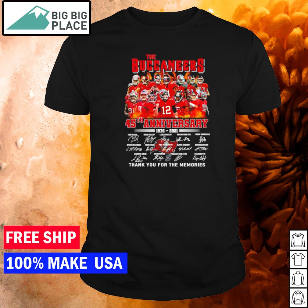 The Tampa Bay Buccaneers 45th anniversary 1976-2021 thank you for the memories shirt