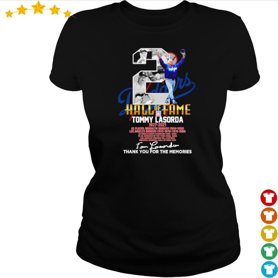 Tommy Lasorda hall of fame 1927 2021 signature thank you for the memories s ladies tee