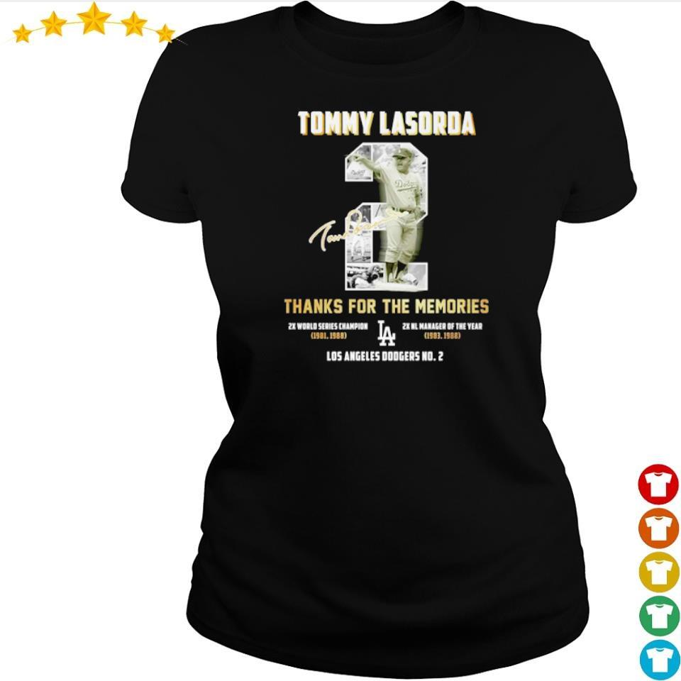 Tommy Lasorda thanks for the memories Los Angeles Dodgers No 2 signature s ladies tee