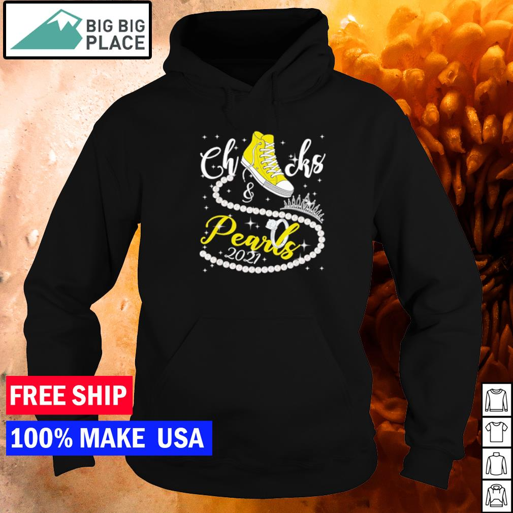 Yellow converse chucks and pearls 2021 Kamala Harris s hoodie